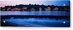 Boathouse Row Lit Up At Dusk Acrylic Print by Panoramic Images