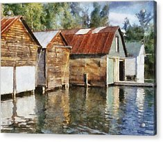 Boathouses On The Torch River Ll Acrylic Print by Michelle Calkins