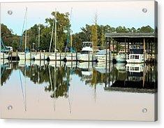 Boats And Reflections Acrylic Print by Carolyn Ricks