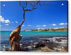 Boats At Anaehoomalu Bay Acrylic Print by James Eddy