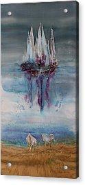 Boats At Sea Acrylic Print by Carolyn Doe