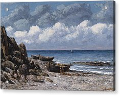 Boats At St Aubain Acrylic Print by Gustave Courbet