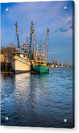 Boats In Blue Acrylic Print by Debra and Dave Vanderlaan