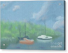 Boats In Cove Acrylic Print by Arlene Babad
