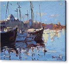 Boats In Mandraki Rhodes Greece  Acrylic Print by Ylli Haruni