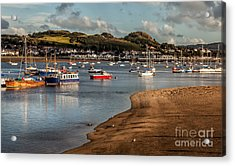 Boats In The Harbour Acrylic Print by Adrian Evans