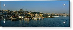 Boats Moored At A Harbor, Istanbul Acrylic Print by Panoramic Images