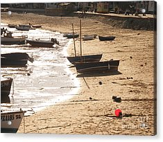Boats On Beach 02 Acrylic Print by Pixel  Chimp