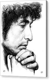 Bob Dylan Blackwhite Drawing Sketch Poster Acrylic Print by Kim Wang