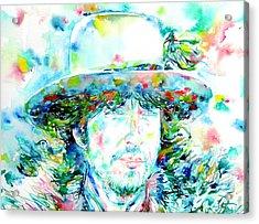 Bob Dylan - Watercolor Portrait.2 Acrylic Print by Fabrizio Cassetta