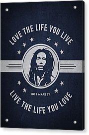 Bob Marley - Navy Blue Acrylic Print by Aged Pixel