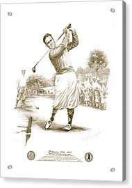 Bobby Jones At Sarasota - Sepia Acrylic Print by Harry West