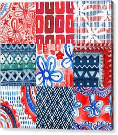 Boho Americana- Patchwork Painting Acrylic Print by Linda Woods