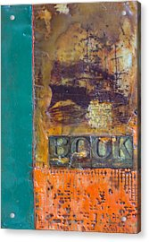 Book Cover Encaustic Acrylic Print by Bellesouth Studio