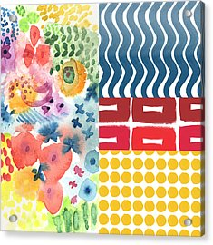 Bold Boho Patchwork- Abstract Art Acrylic Print by Linda Woods