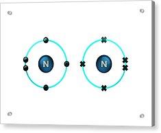 Bond Formation In Nitrogen Molecule Acrylic Print by Animate4.com/science Photo Libary