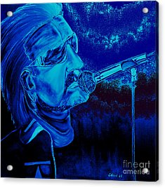 Bono In Blue Acrylic Print by Colin O neill