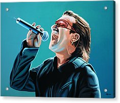 Bono Of U2 Painting Acrylic Print by Paul Meijering