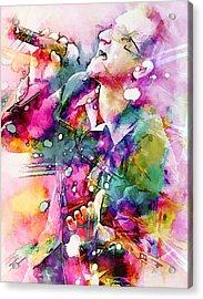 Bono Singing Acrylic Print by Rosalina Atanasova
