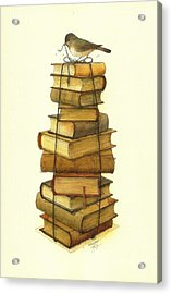 Books And Little Bird Acrylic Print by Kestutis Kasparavicius
