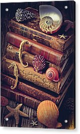 Books And Sea Shells Acrylic Print by Garry Gay