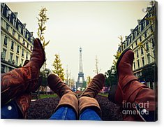 Boots In Paris Acrylic Print by Shawna Gibson