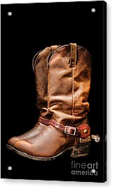Boots On Black Acrylic Print by Olivier Le Queinec