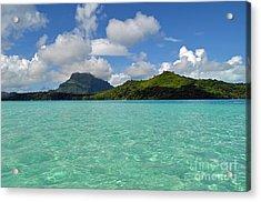 Bora Bora Green Water Acrylic Print by Eva Kaufman