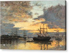 Bordeaux In The Harbor Acrylic Print by Eugene Louis Boudin