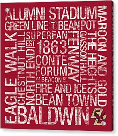 Boston College College Colors Subway Art Acrylic Print by Replay Photos