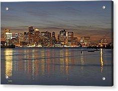 Boston Harbor Skyline Reflection Acrylic Print by Juergen Roth