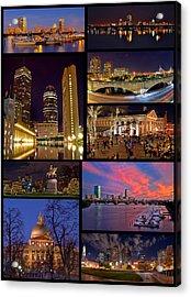 Boston Nights Collage Acrylic Print by Joann Vitali