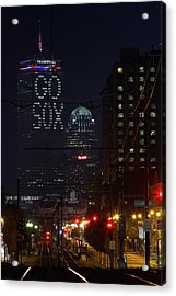 Boston Prudential Center With Message Go Sox Acrylic Print by Juergen Roth