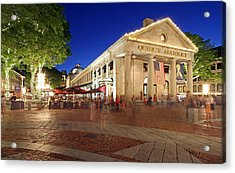 New England Acrylic Print featuring the photograph Boston Quincy Market Near Faneuil Hall by Juergen Roth