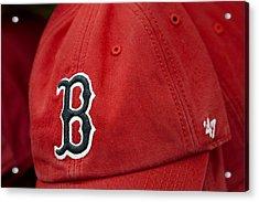 Boston Red Sox Baseball Cap Acrylic Print by Susan Candelario