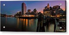 Boston Skyline At Twilight Acrylic Print by Thomas Schoeller