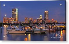 Boston Skyline In Blue And Gold Acrylic Print by Joann Vitali