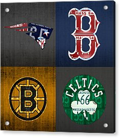 Boston Sports Fan Recycled Vintage Massachusetts License Plate Art Patriots Red Sox Bruins Celtics Acrylic Print by Design Turnpike