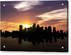 Boston Sunset Skyline  Acrylic Print by Aged Pixel