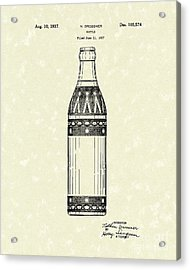 Bottle 1937 Patent Art Acrylic Print by Prior Art Design
