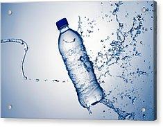 Bottle Water And Splash Acrylic Print by Johan Swanepoel
