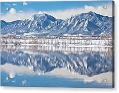 Boulder Reservoir Flatirons Reflections Boulder Colorado Acrylic Print by James BO  Insogna