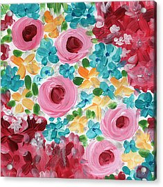 Bouquet- Expressionist Floral Painting Acrylic Print by Linda Woods