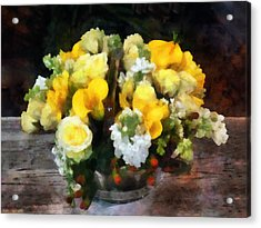 Bouquet With Roses And Calla Lilies Acrylic Print by Susan Savad