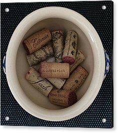 Bowl Of Corks Acrylic Print by Patricia Januszkiewicz
