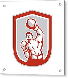 Boxer Boxing Punching Jabbing Circle Retro Acrylic Print by Aloysius Patrimonio