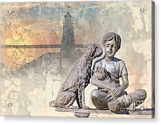 Boy And His Dogs Sculpture Acrylic Print by Betty LaRue