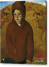 Boy At Harvest Time Acrylic Print by Celestial Images