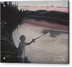 Boy Fishing And Sunset Acrylic Print by Ian Donley