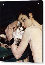 Boy With A Cat Acrylic Print by Pierre-Auguste Renoir